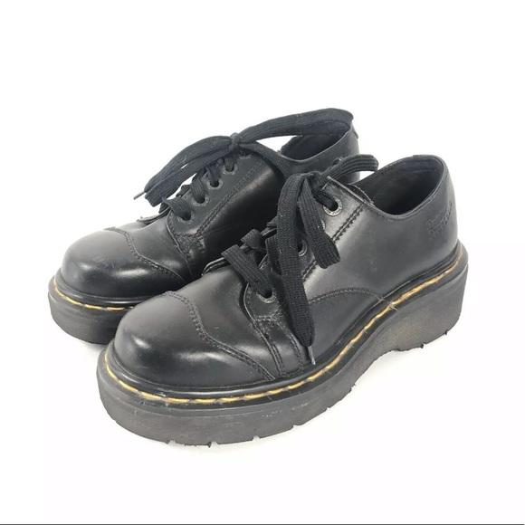Dr Marten 8561 3 Eye Lace Up Black Platform Shoe